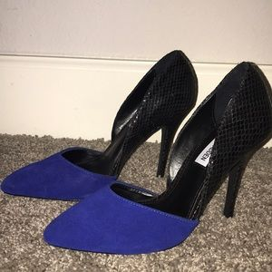 blue and black steve madden heels